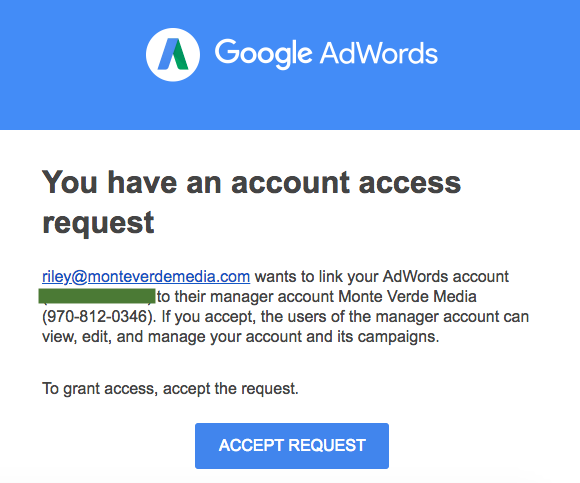 Email request from AdWords MCC account