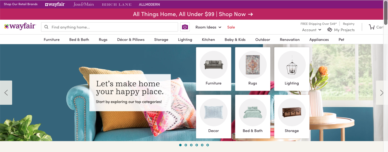 Wayfair Homepage Slider