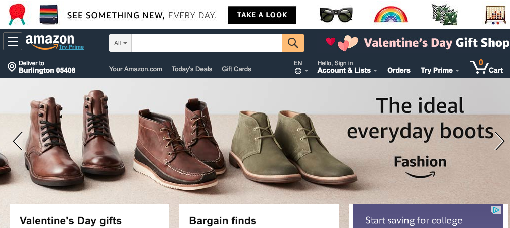 Amazon Homepage Slider