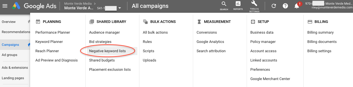 Where to edit or add negative keyword lists in Google Ads