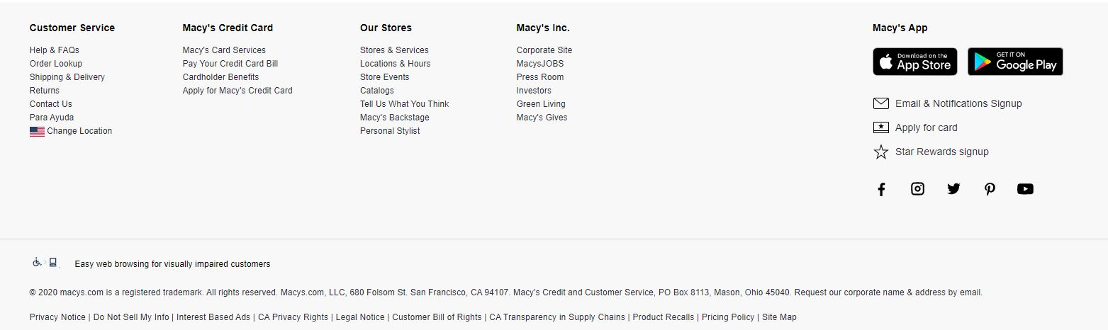 Website footer from Macys